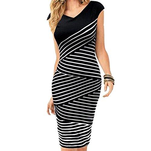 WIIPU Women's Slim Striped Bodycon Party Cocktail Clubwear Pencil Dress(J515)