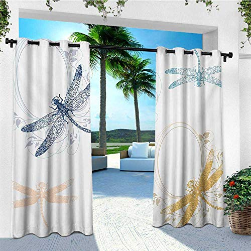 leinuoyi Dragonfly, Outdoor Curtain Panel Design, Floral Spring Bugs Wings with Flower Petals Animal Nature Themed Artful Motif, Set for Patio Waterproof W108 x L96 Inch Multicolor