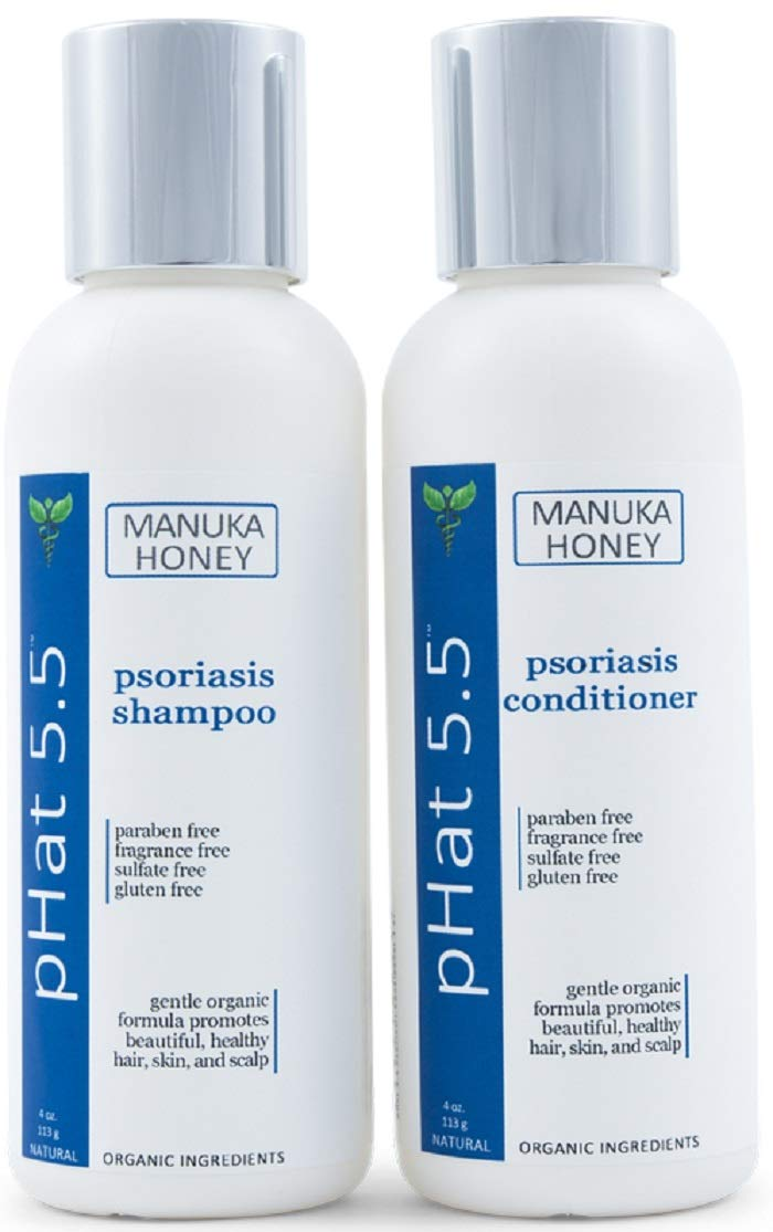 Psoriasis Shampoo and Conditioner Set for Dry and Itchy Scalp Treatment - Organic and Natural Formula - Gentle for Sensitive Skin with Manuka Honey and Aloe Vera - Sulfate and Paraben Free (4 oz) by pHat 5.5