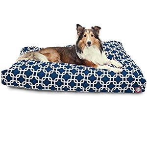 Navy Blue Links Large Rectangle Indoor Outdoor Pet Dog Bed With Removable Washable Cover By Majestic Pet Products