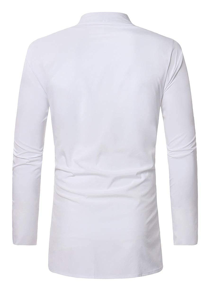 YUSKYMen African No Iron Ethnic Style Flower Print Button Dress Shirts