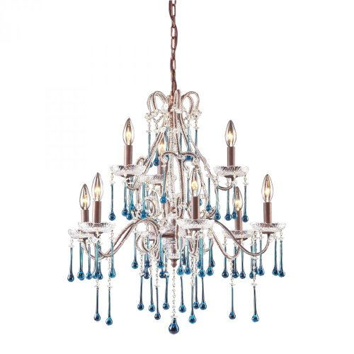 ELK 4013/6+3AQ, Opulence Crystal 2 Tier Chandelier Lighting, 9 Light, 180 Total Watts, Rust