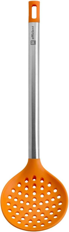 BRA Efficient Espumadera de Cocina, Acero INOX, Nailon y Silicona, Naranja, 36.5 cm