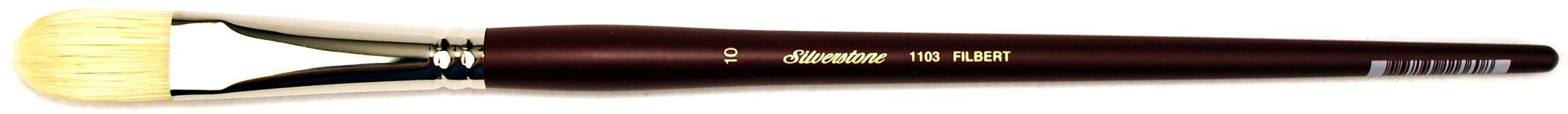 Silver Brush 1103-10 Silverstone Excellent Long Handle Hog Bristle Brush, Filbert, Size 10
