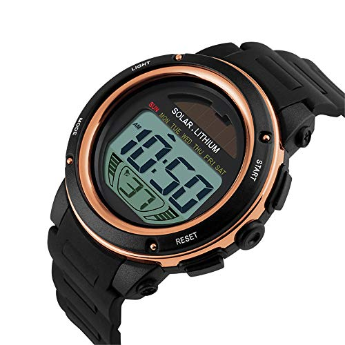 Fashion Outdoor Sport Watch Men PU Strap Watches Chronograph Alarm 5Bar Waterproof Digital Watch reloj Hombre 1096,Gold