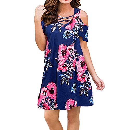 (Womens Casual Dress Cold Shoulder T Shirt Dresses Criss Cross Neckline Mini Dress Swing Pleated Loose Sundress Blue)