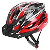JBM Adult Cycling Bike Helmet Specialized for Men Women Safety Protection CPSC Certified (18 Colors) Black/Red/Blue/Pink/Silver Adjustable Lightweight Helmet with Reflective Stripe and Removal
