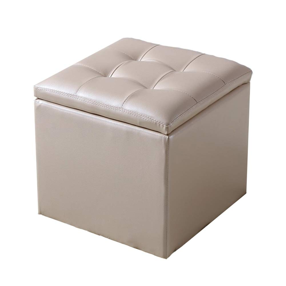 Champagne gold 323235cm Stool Footstool Leather Stool Storage Stool Can Sit Adult Household Sofa Stool Doorway Change shoes Bench GAOFENG (color   Black, Size   32  32  35cm)
