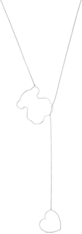 TOUS Collar cadena Mujer con colgantes siluetas de Plata, Largo 84 cm, Siluetas 4,2-1,65 cm
