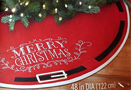 Christmas Tree Skirt - Merry Christmas with Santa Claus Belt Decoration - 48 Skirt by Holiday Time