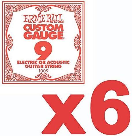 6 Pack Ernie Ball personalizados calibre 9 S cuerdas de guitarra ...