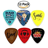 Creanoso Dad Guitar Picks Celluloid Medium (12-Pack) - Best Dad Ever - Unique Gifts for Superhero Fathers Day and Daddy Birthday