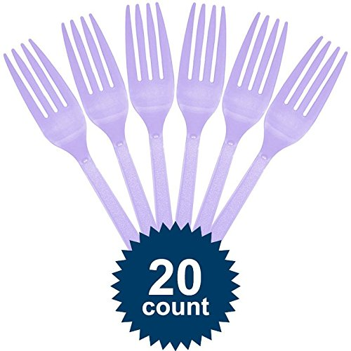 Lavender Premium Weight Plastic Forks Pack of 20 -