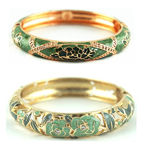 UJOY Vintage Jewelry Cloisonne Handcrafted Enameled Gorgeous Rhinestone Gold Hinged Cuff Bracelet Bangles Gifts 88A10 Rose Green