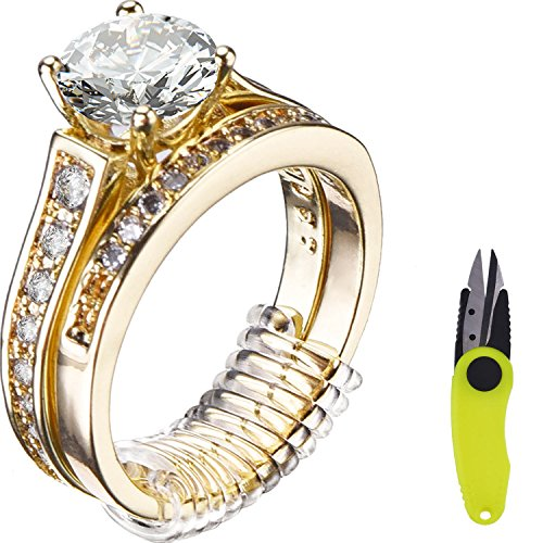Mtlee Ring Size Adjusters for Loose Rings Ring Guard Ring Sizer 16 Pieces in 4 Sizes with Scissor Jewelry Polishing ()