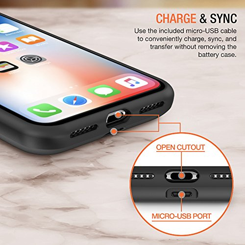 iPhone X Battery Case with Qi Wireless Charging, Trianium 3000mAh [Black] Rechargeable Juice Power Charger Battery Case for iPhone X 10 [Apple Certified Part/Not Support with Wireless Charging Pad] by Trianium (Image #4)