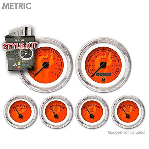 Black Modern Needles, Chrome Trim Rings Aurora Instruments 5356 Ghost Flame Red Metric Style Kit
