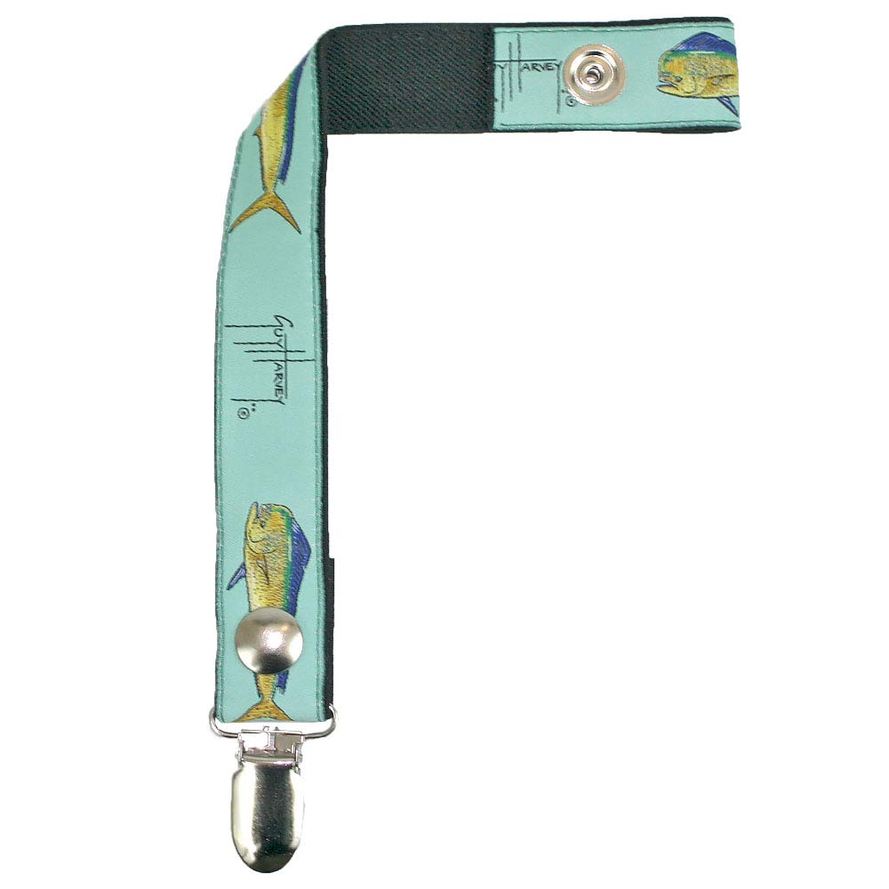 Guy Harvey Pacifier Clips Teething Ring Holders for Boys and Girls (Seafoam Dolphin) by Guy Harvey