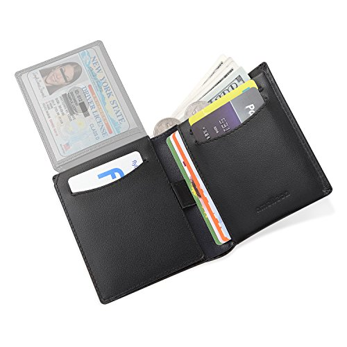 Amelleon Trifold Bifold Genuine Leather RFID Wallets for Men – ID & Photo Window,10 Credit Card Slots,Bill & Coin Pockets-For Work,Travel,Gift&More (Black)