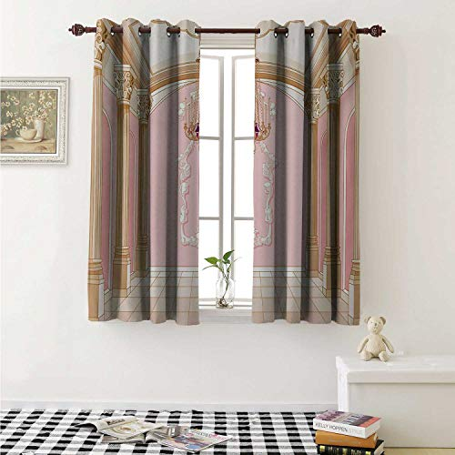 (shenglv Princess Customized Curtains Interior of The Ballroom Magic Castle Chandelier Ceiling Columns Kingdom Print Curtains for Kitchen Windows W63 x L45 Inch Rose Peach)