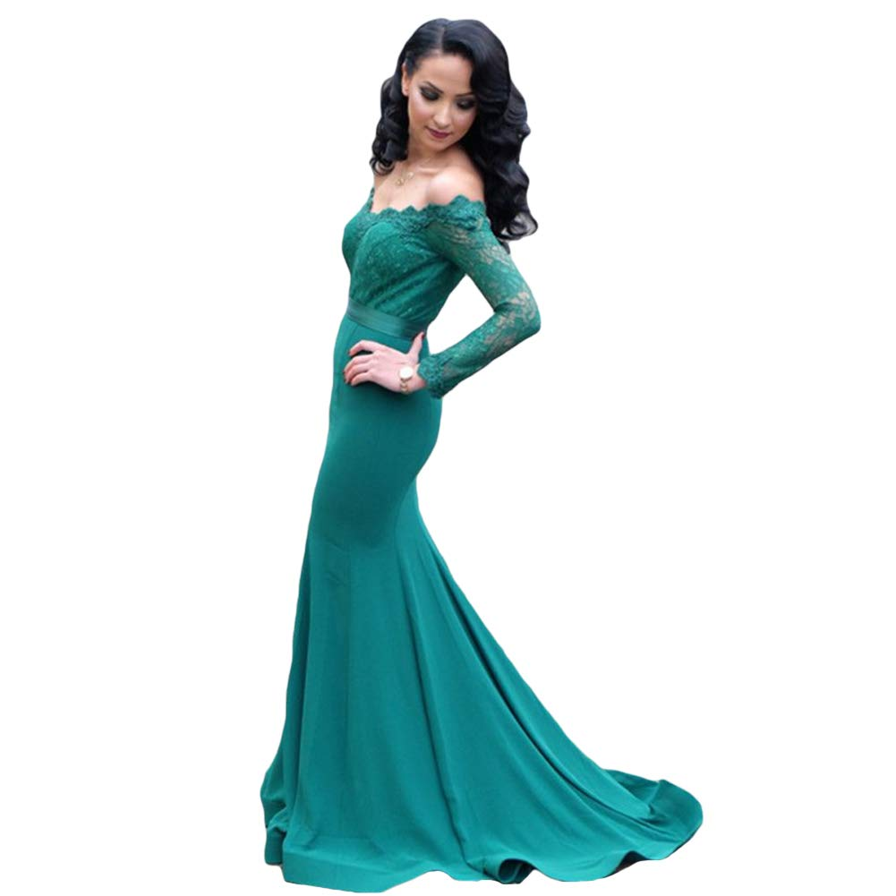 Green Dreagel Lace Mermaid Prom Dresses Long Sleeves Evening Formal Dress Sweep Train