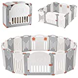 LIVINGbasics Foldable Baby Playpen, 14-Panel Kids Safety Activity Center Playard w/Locking Gate, Adjustable Shape, Portable Design for Indoor Outdoor Use
