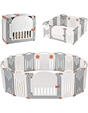 LIVINGbasics Foldable Baby Playpen, 14-Panel Kids Safety Activity Center Playard with Locking Gate, Adjustable Shape, Portable Design for Indoor Outdoor Use