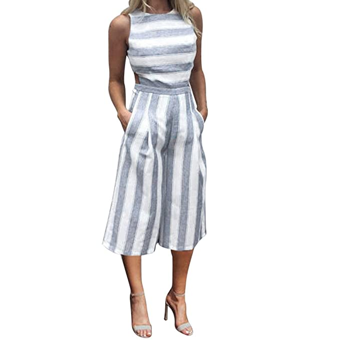 dbad5ff94fcc Handyulong Women Jumpsuits Stripe Print Crop Shirts Wide Leg Long Pants  Casual Beach Playsuit Rompers for