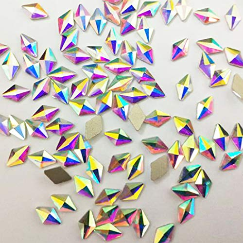 (100pcs Ultra Sparkle Shine AB Crystal Bead Rhombus Shapes Gold Flatback Rhinestones Gems Pearls for 3D Nail Art Beauty Design Makeup DIY Crafts Painting (Rhombus AB 5X8mm))