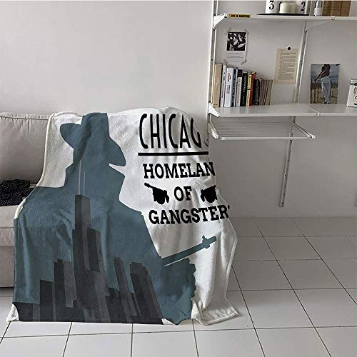Khaki home Children's Blanket Travel Print Summer Quilt Comforter (50 by 70 Inch,Vintage,Double Exposure of Gangster with Gun on Chicago Skyscrapers Homeland Mafia Danger,Grey Black