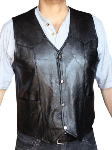 (Men's Motorcycle Vest Genuine patchs Leather Black syle 950P_xl )
