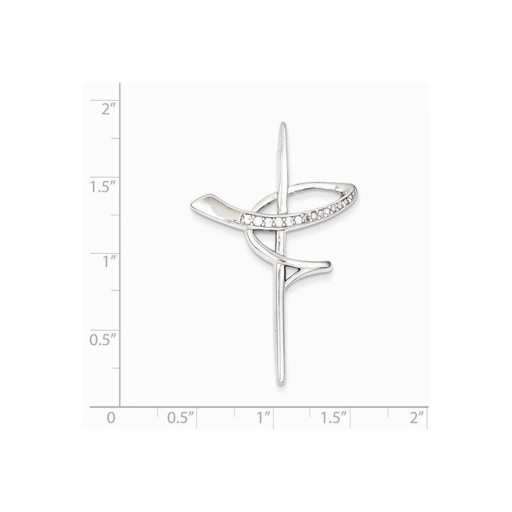 1.77 in x 1.14 in Sterling Silver CZ Cross Pendant