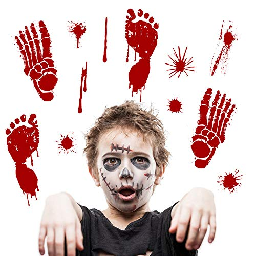 Tuscom Bloody Footprints Handprint Floor Clings |Halloween Stickers Vampire Zombie Party Decor Decals Stickers (2 Style 30x45cm) (B) -