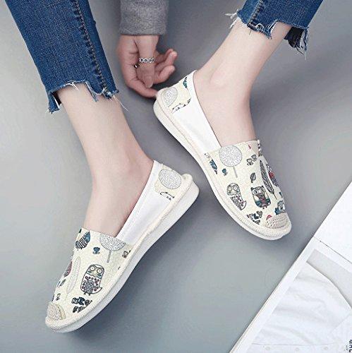 de manera perezoso blanco libre del pedal respirable oras la Color Blanco de tablero zapatos Tama del aire los o las ocio calza al zapatos 36 Blanco se lona de Un los planos de FUOw5qTY