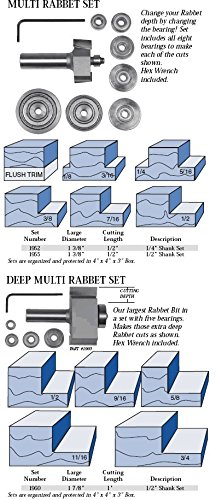 Whiteside Router Bits 1960 Deep Multi Rabbet Set Carbide Tipped 1-7/8-Inch Large Diameter and 1-Inch Cutting -