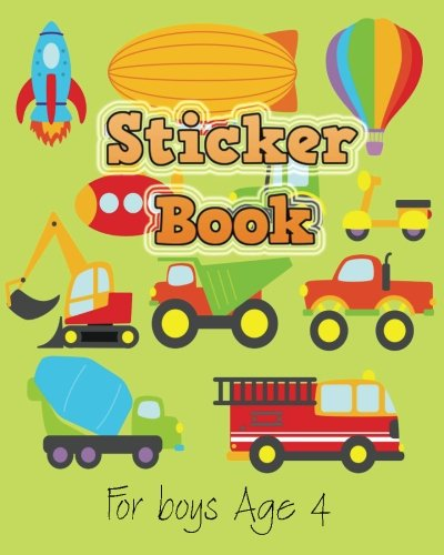 Sticker Book For Boys Age 4: Blank Sticker Book, 8 x 10, 64 Pages