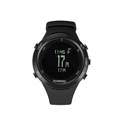 Smartwatches Hombres Reloj de Ritmo cardíaco Brújula Podómetro Altímetro 5ATM Impermeable Sujeción Digital Carga de Relojes