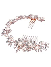 BriLove Women's Bohemian Wedding Bridal Daisy Flower Crystal Ivory Color Bling Headband Hair Comb Clear Rose Gold Toned