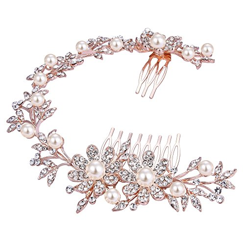 BriLove Women's Bohemian Wedding Bridal Daisy Flower Crystal Ivory Color Bling Bridal Headband Hair Comb Clear Rose-Gold-Toned