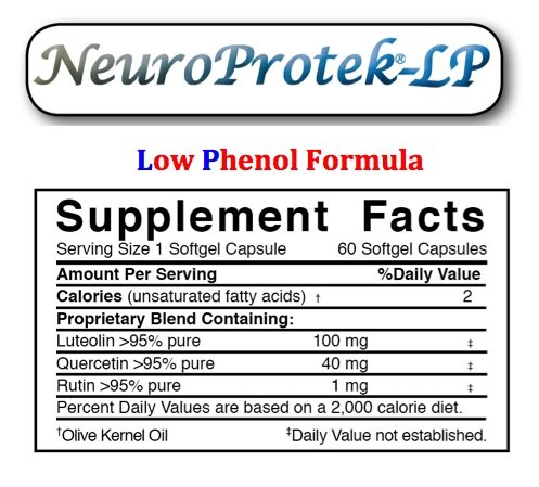 NeuroProtek Low Phenol Formula - 4 Bottle 10% discount pack (60 softgels per bottle) by Algonot