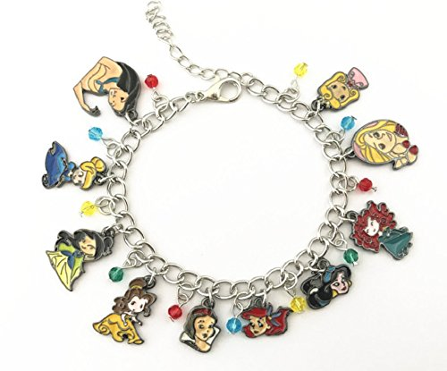 New Horizons Production Disney's Princess Characters Assorted Metal Charms Bracelet