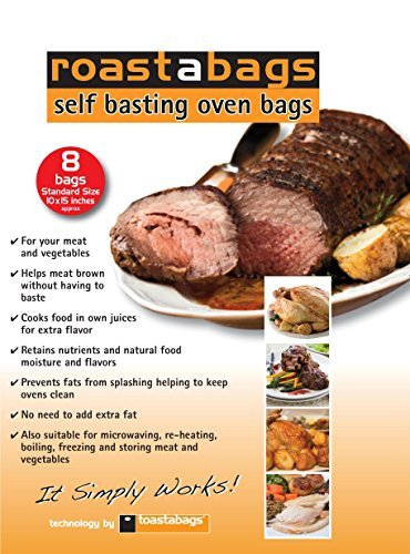 Roasting Bag Chicken (Roastabags - Self Basting Oven Bags (Pack of 8) for Brining and Roasting Chicken, Meat, Seafood & Vegetables. Bags Size 10 X 15.25 Inches)