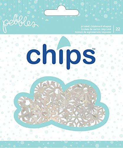American Crafts 22 Piece Pebbles Winter Wonderland Glitter Ephemera Snowflakes