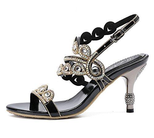 Nozze EUR Tacco anno medio fine Diamante black 8 di sandali Ballo UK 41 Sera Donna nuziale Festa ZPL E6Rwq0x7q