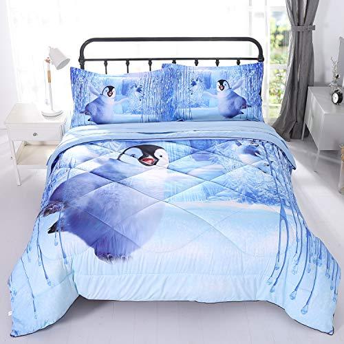Wowelife 3D Penguin Comforter Set Full Penguin Playing in Snow Penguin Comforter Sets Bed Set 5 Piece with Comforter, Flat Sheet, Fitted Sheet and 2 Pillow Cases(White Penguin, Full)