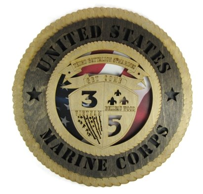 (Orange Kat USMC - Marine Corps Third Battalion, Fifth Marines Laser Cut Military Wall Plaque with American Flag)