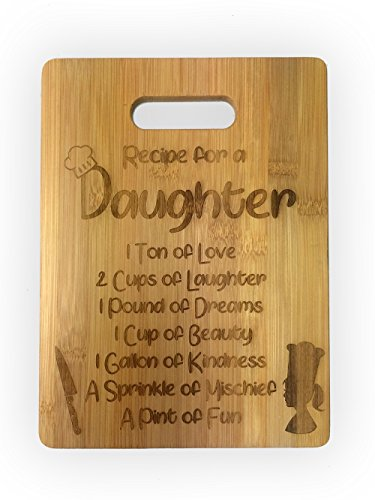 Recipe for a Daughter or Son Cute Funny Laser Engraved Bamboo Cutting Board - Wedding, Housewarming, Anniversary, Birthday, Mother's Day, Gift (Daughter)