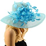 SK Hat shop Spectacular Spray Feathers Sinamay Derby Floppy Wide Brim 7'' Dress Hat Turquoise