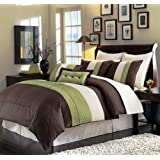 """LUXURY OVERSIZE SUPER SET 8 pc Queen (94\"""" X 90\"""") Bed in a Bag Regatta Brown Green Comforter Set with Euro Shams"""