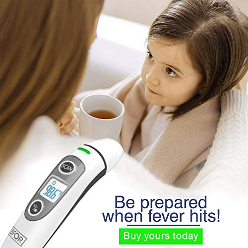 BFOR55 New Tech Infrared Temporal Digital Thermometer for Fever, Fahrenheit and Celsius Suitable for Baby Kids Adults and Infant Forehead Ear or Oral Temperature Instant.FDA CE Approved.